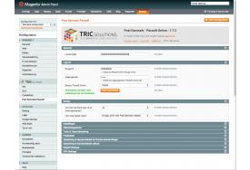 I Magento administrationen skal du indtaste licensnøglen fra TRIC Solutions. Ligeledes skal du angive dine brugeroplysninger fra Pacsoft Online.