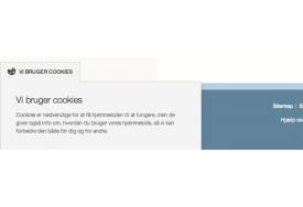 CookieNote modulet til Magento viser her cookie-info i lyst farvetema