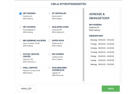 Mindre skærme viser listen af DAO pakkeshops uden kort og med shoplisten i 1 eller 2 spalter. Din Magento webshop viser stadig pakkeshoppens åbningstider