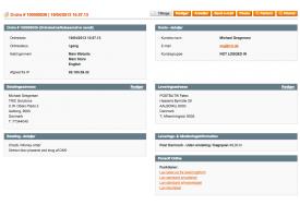 Kundens valg af leveringsadresse kan ses via ordrevisningen i Magento webshop administrationen.