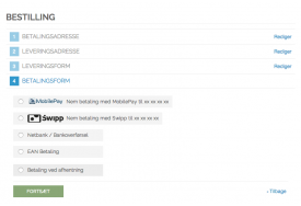 Simpel MobilePay betaling vises her med logo i Magento frontend