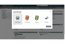 Ved generering af DAO labels i Magento webshoppen kan du oprette labels ud fra valgt leveringsform eller manuelt vælge labeltype