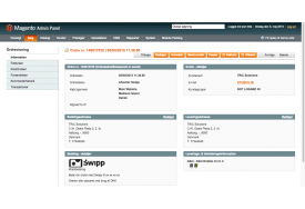 DAO leveringsinformation i ordrevisningen på Magento webshop. I ordrevisningen kan du generere nye DAO labels og downloade eksisterende labels