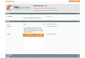 Notifikationsbarens tekst kan formateres ved hjælp af wysiwyg editor