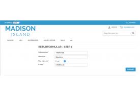 I forbindelse med returnering skal ordren søges frem. Det sker ved hjælp af ordrenummer, efternavn og e-mail eller postnummer.